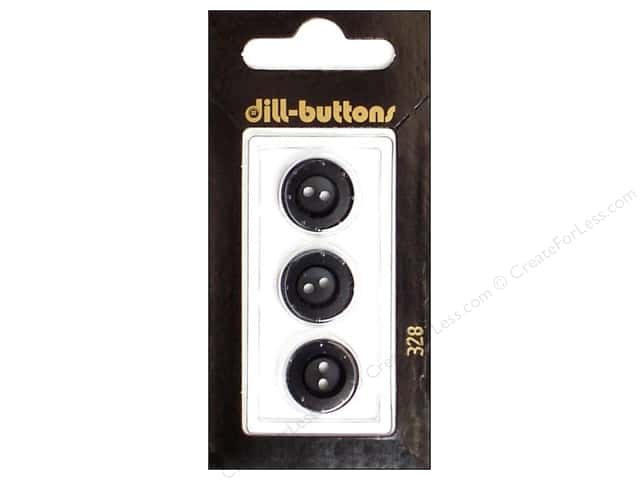 Dill 2 Hole Buttons 5/8 in. Black #328 3pc.