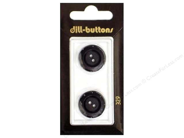 Dill 2 Hole Buttons 3/4 in. Black #329 2pc.
