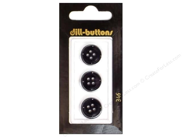 Dill 4 Hole Buttons 5/8 in. Black #346 3pc.