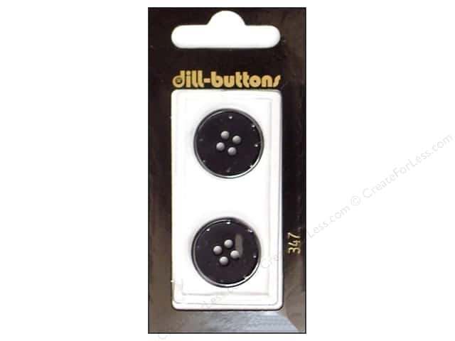 Dill 4 Hole Buttons 13/16 in. Black #347 2pc.