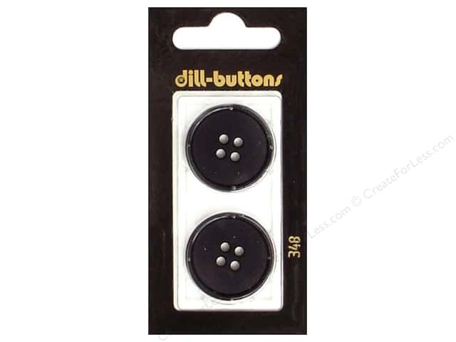 Dill 4 Hole Buttons 1 in. Black #348 2pc.
