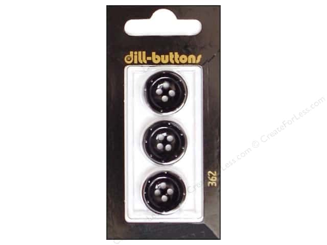 Dill 4 Hole Buttons 11/16 in. Black #362 3 pc.