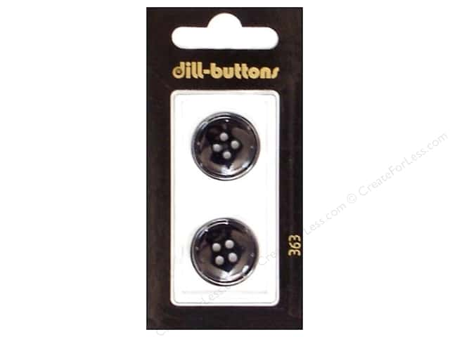 Dill 4 Hole Buttons 13/16 in. Black #363 2pc.