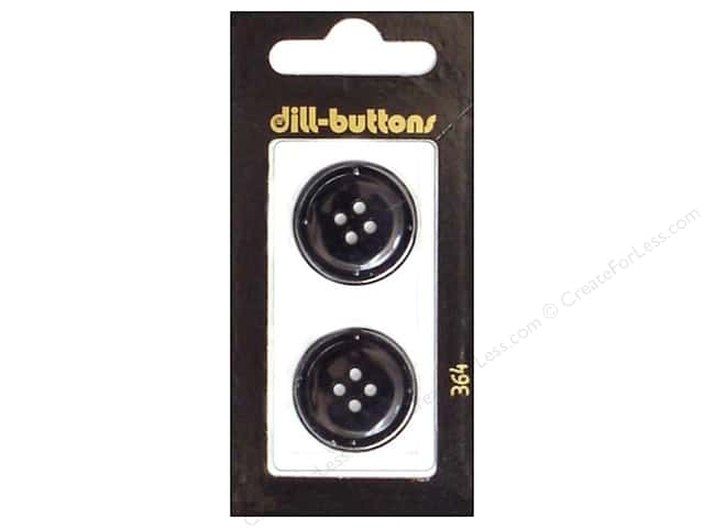Dill 4 Hole Buttons 7/8 in. Black #364 2pc.