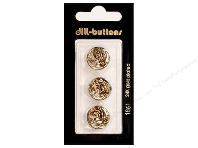 Dill Shank Buttons 5/8 in. Antique Gold Metal #1861 3pc.