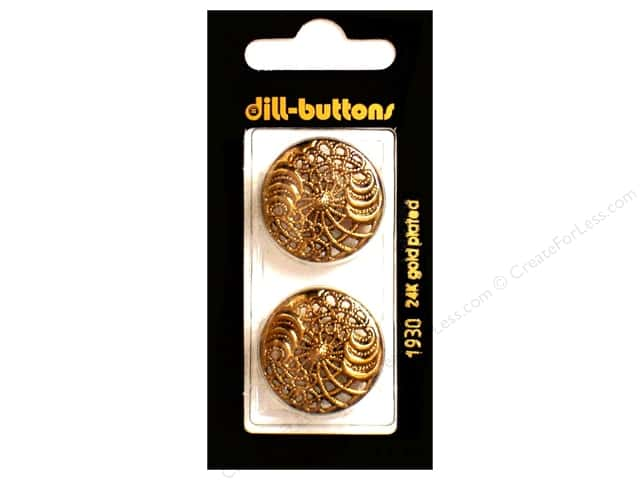 Dill Shank Buttons 1 in. Antique Gold Metal #1930 2pc.