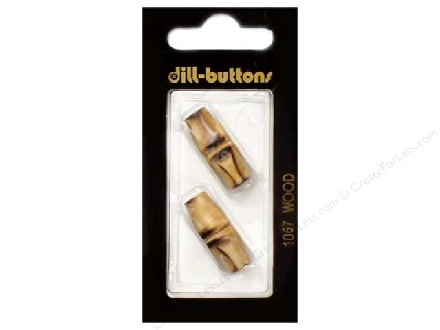 Dill 2 Hole Buttons 1 inch, Wood Brown #1067 2pc.