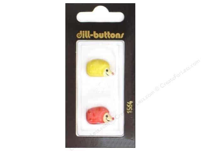 Dill Shank Buttons 11/16 in. Hedgehogs Yellow and Red #1564 2pc.