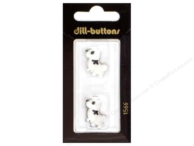 Dill Shank Buttons 7/8 in. Little Dog White/Black #1566 2pc.