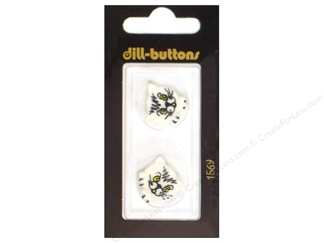 Dill Shank Buttons 13/16 in. White Kitty #1569 2 pc.