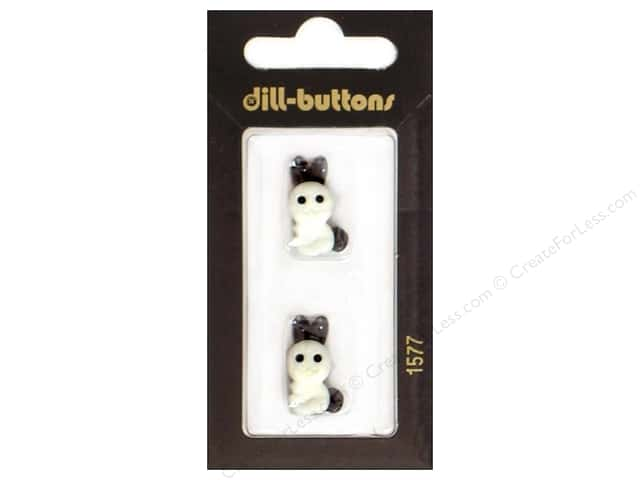 Dill Shank Buttons 13/16 in. White Bunny #1577 2pc.
