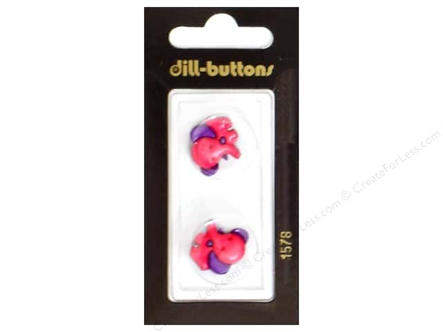 Dill Shank Buttons 13/16 in. Fuchsia Elephant #1578 2pc.