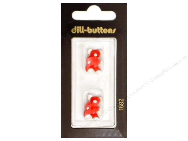 Dill Shank Buttons 11/16 in. Red Bear #1582 2pc.