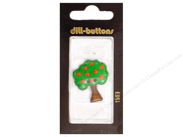 Dill 2 Hole Buttons 1 1/4 in.  Apple Tree Green/Red #1583 1 pc.