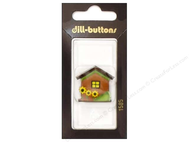 Dill Shank Buttons 1 1/4 in. Brown House with Flowers #1585 1 pc.