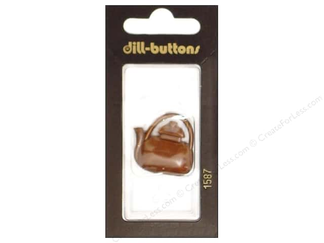 Dill Shank Buttons 1 1/8 in. Brown Teapot #1587 1pc.