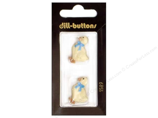 Dill Shank Buttons 1 in. White Goose #1589 2pc.