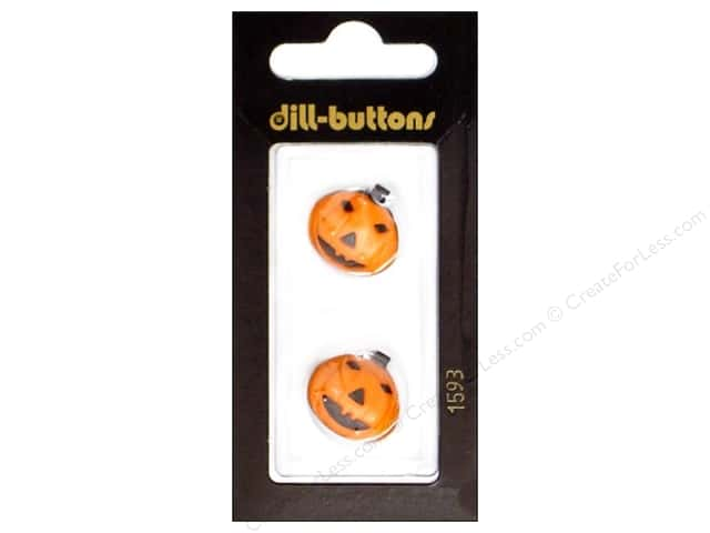 Dill Shank Buttons 11/16 in. Orange Jack-O-Lantern #1593 2pc.