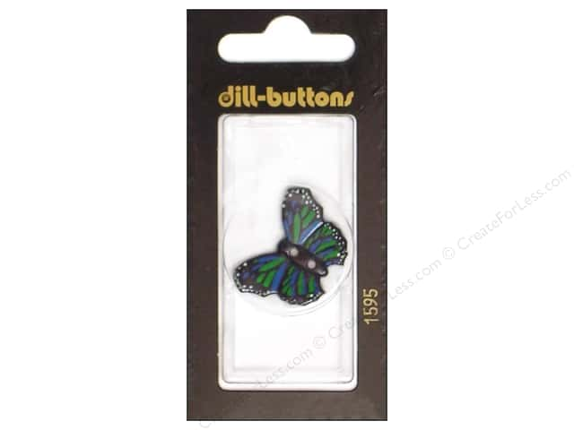 Dill 2 Hole Buttons 1 1/8 in. Butterfly Green/Blue #1595 1pc.
