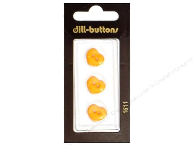 Dill 2 Hole Buttons 1/2 in. Orange Heart  #1611 3pc.