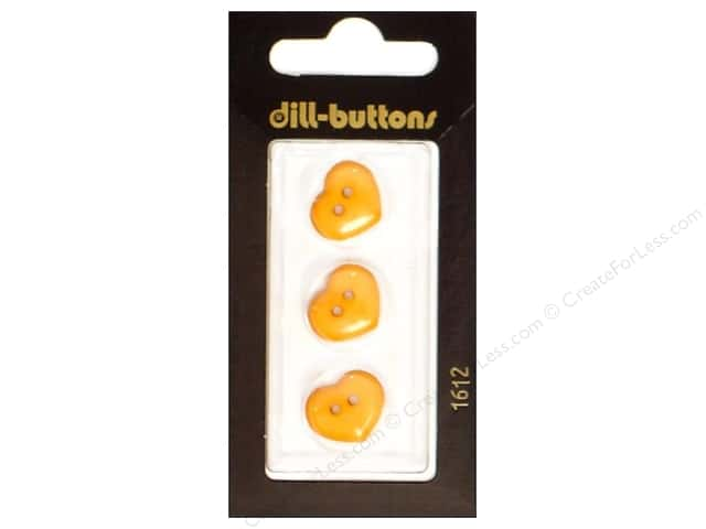 Dill 2 Hole Buttons 5/8 in. Orange Heart #1612 3pc.