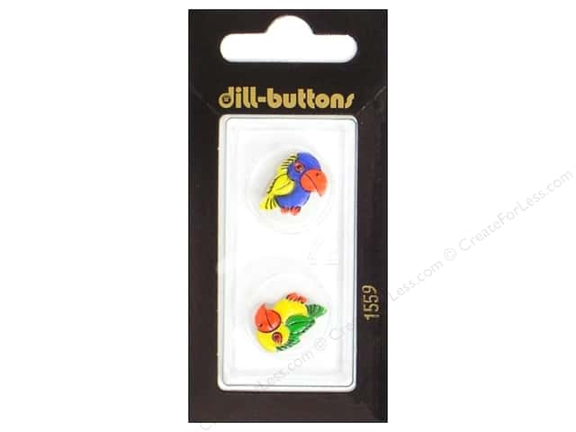 Dill Shank Buttons 11/16 in. Parrots Blue/Yellow #1559 2pc.