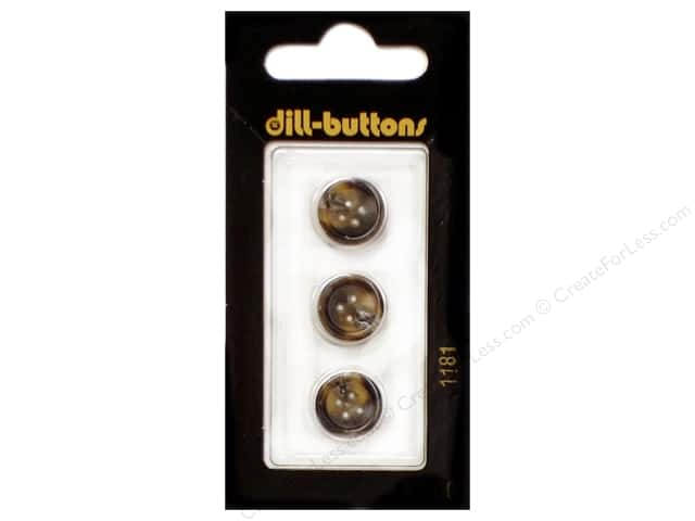 Dill 4 Hole Buttons 1/2 in. Brown #1181 3pc.