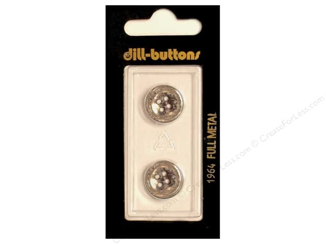 Dill 4 Hole Buttons 5/8 in. Antique Silver Metal #1964 2pc.