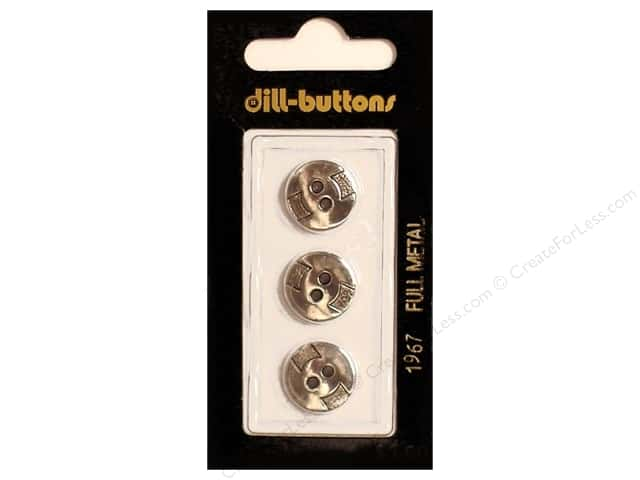 Dill 2 Hole Buttons 9/16 in. Antique Silver Metal #1967 3pc.