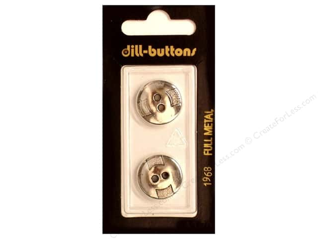 Dill 2 Hole Buttons 11/16 in. Antique Silver Metal #1968 2pc.