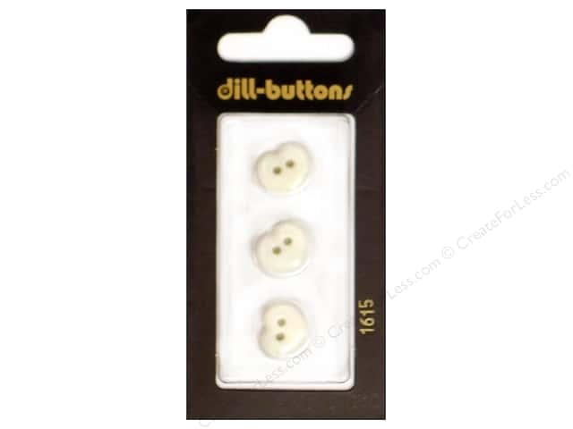 Dill 2 Hole Buttons 1/2 in. White Heart #1615 3pc.
