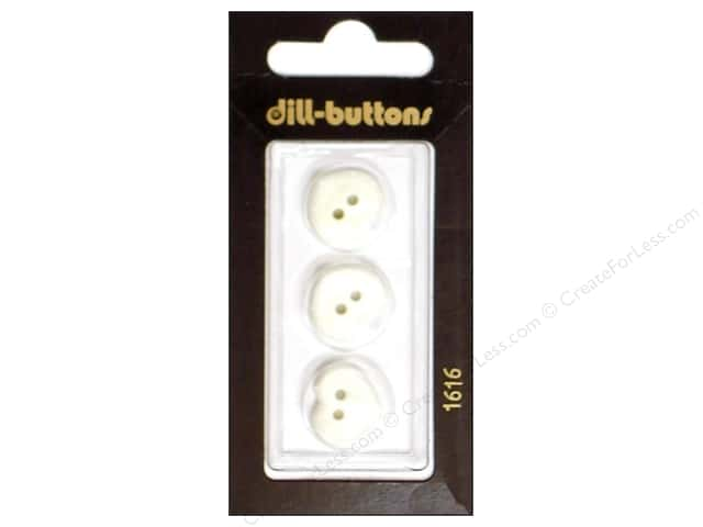 Dill 2 Hole Buttons 5/8 in. White Heart #1616 3pc.