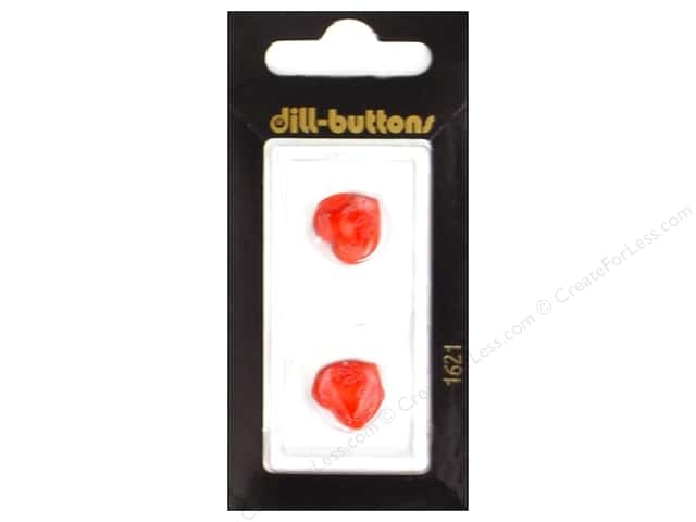 Dill Shank Buttons 9/16 in. Red/White Heart #1621 2pc.