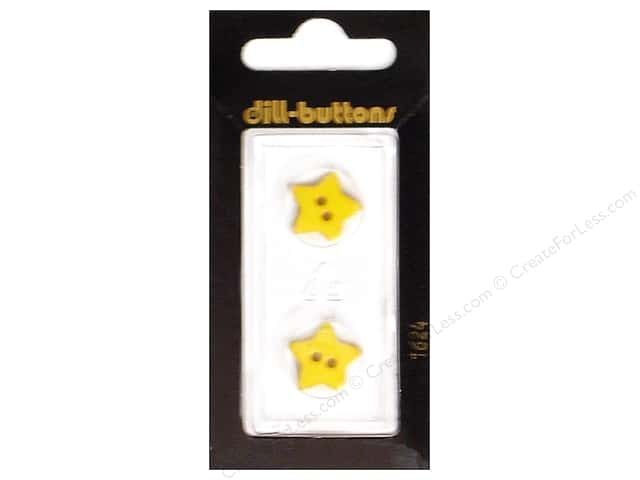 Dill 2 Hole Buttons 5/8 in. Yellow Star #1624 2pc.