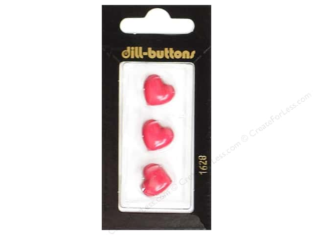 Dill Shank Buttons 9/16 in. Pink Heart  #1628 3pc.