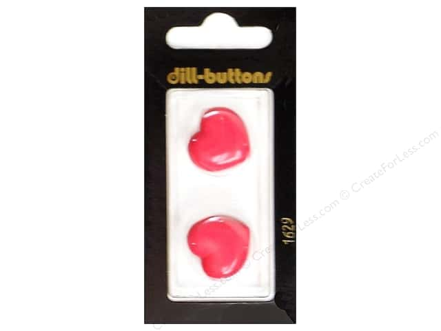 Dill Shank Buttons 13/16 in. Pink Heart #1629 2pc.