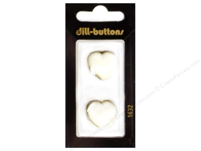 Dill Shank Buttons 13/16 in. White Heart #1632 2pc.