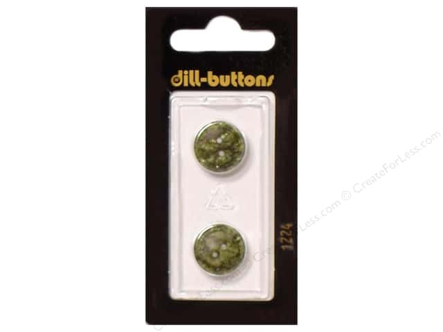 Dill 2 Hole Buttons 5/8 in. Dark Green #1224 2pc.