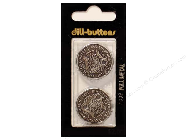 Dill Shank Buttons 1 in. Antique Silver Metal #1999 2pc.