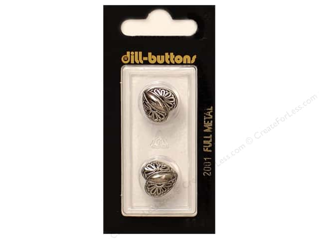 Dill Shank Buttons 5/8 in. Antique Silver Metal Heart  #2001 2pc.