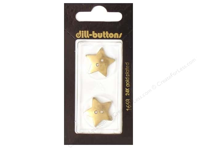 Dill 2 Hole Buttons 13/16 in. Gold Star #1668 2pc.