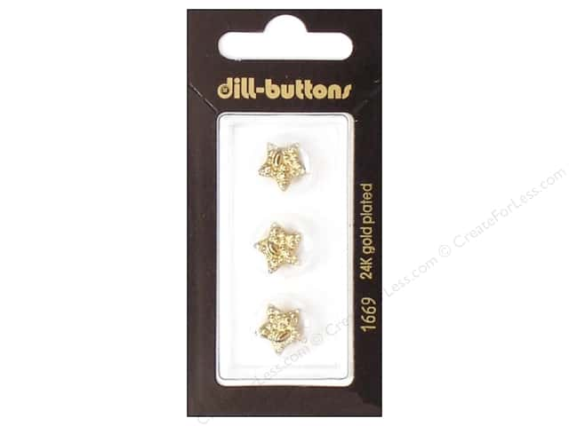Dill Shank Buttons 1/2 in. Gold Star #1669 3pc.
