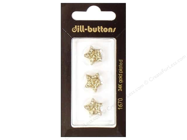 Dill Shank Buttons 9/16 in. Gold Star #1670 3pc.