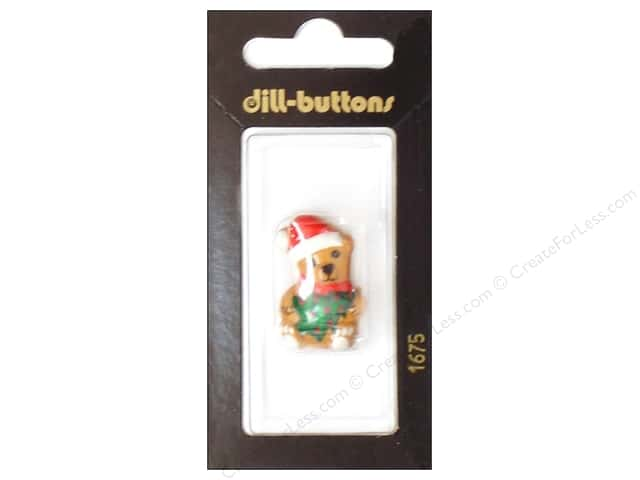 Dill Shank Buttons 1 1/8 in. Brown Christmas Bear #1675 1pc.