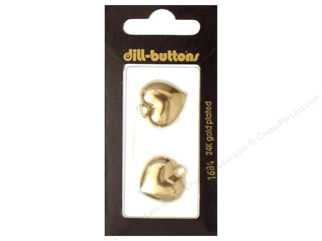 Dill Buttons 13/16 in. Gold Heart Charm #1684 2pc.