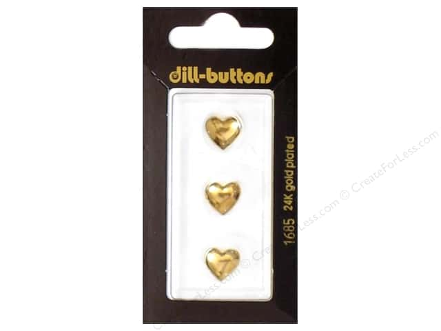 Dill Shank Buttons 7/16 in. Gold Heart #1685 3 pc.