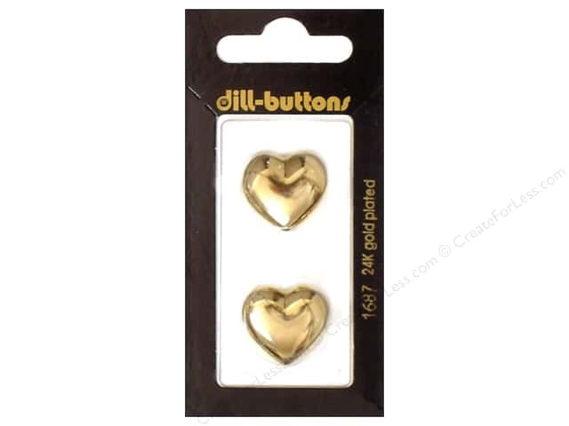 Dill Shank Buttons 13/16 in. Gold Heart #1687 2pc.