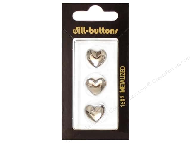 Dill Shank Buttons 9/16 in. Silver Heart #1689 3pc.