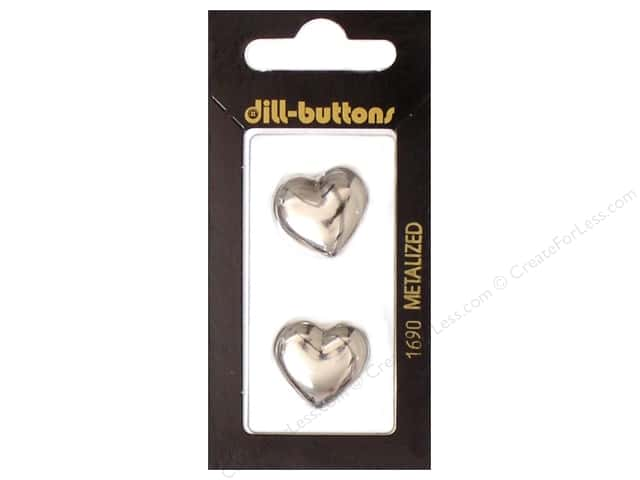Dill Shank Buttons 13/16 in. Silver Heart #1690 2pc.