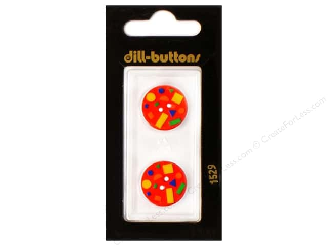 Dill 2 Hole Buttons 11/16 in. Confetti Red #1529 2pc.